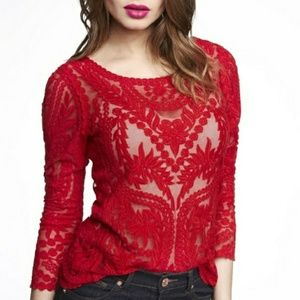 Express Holiday Red Lace Embroidered Top